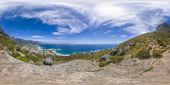 Teljes 360 virutal valóság oroszlán fej és a Table Mountain csúcsok Cape Town, Dél-afrikai Köztársaság