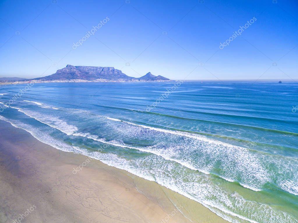 Table Mountain across ocean