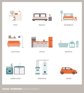 Home design elements, vector illustration clip art vector