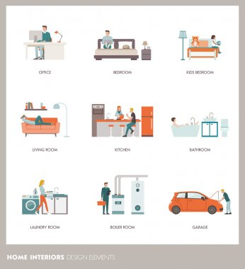 Home design elements with people, vector illustration clip art vector