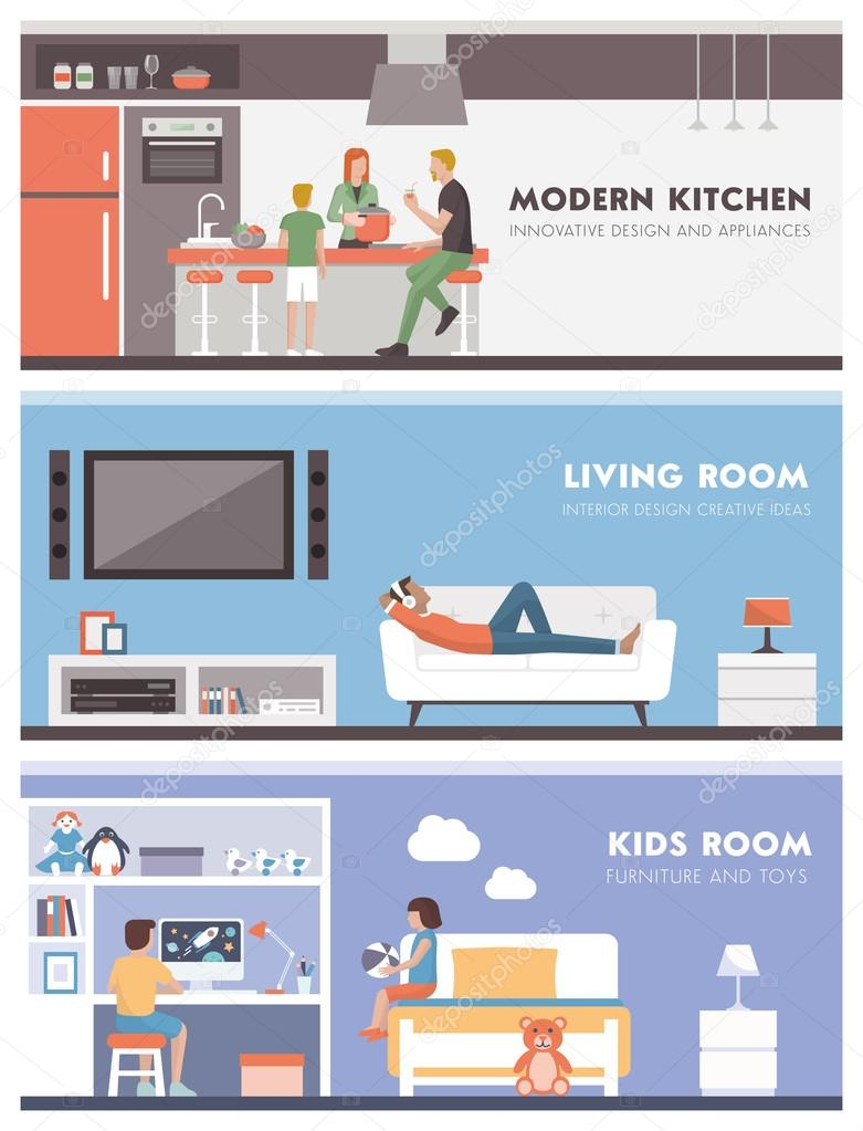 Domestic life banners set: kitchen, living room and kids bedroom stock vector