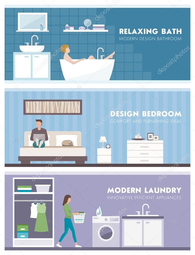 Domestic life banners set: bathroom, bedroom and laundry room stock vector
