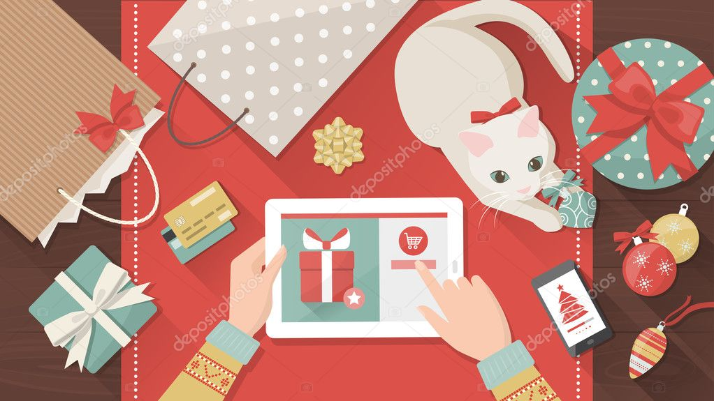 Woman purchasing Christmas gifts online