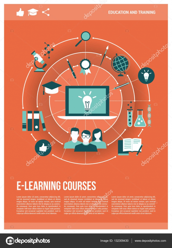 E learning poster designs - Poster Of E Learning Courses Training Concepts Network With Laptop Poster Template Vector By Elenabs