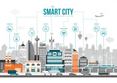 infographics of smart contemporary city