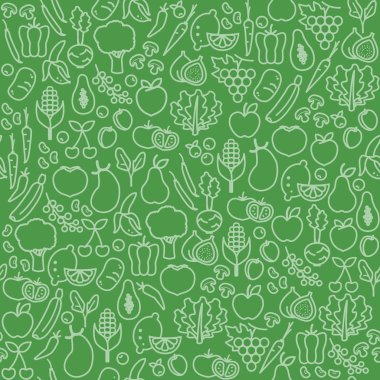 seamless pattern of fresh vegetables