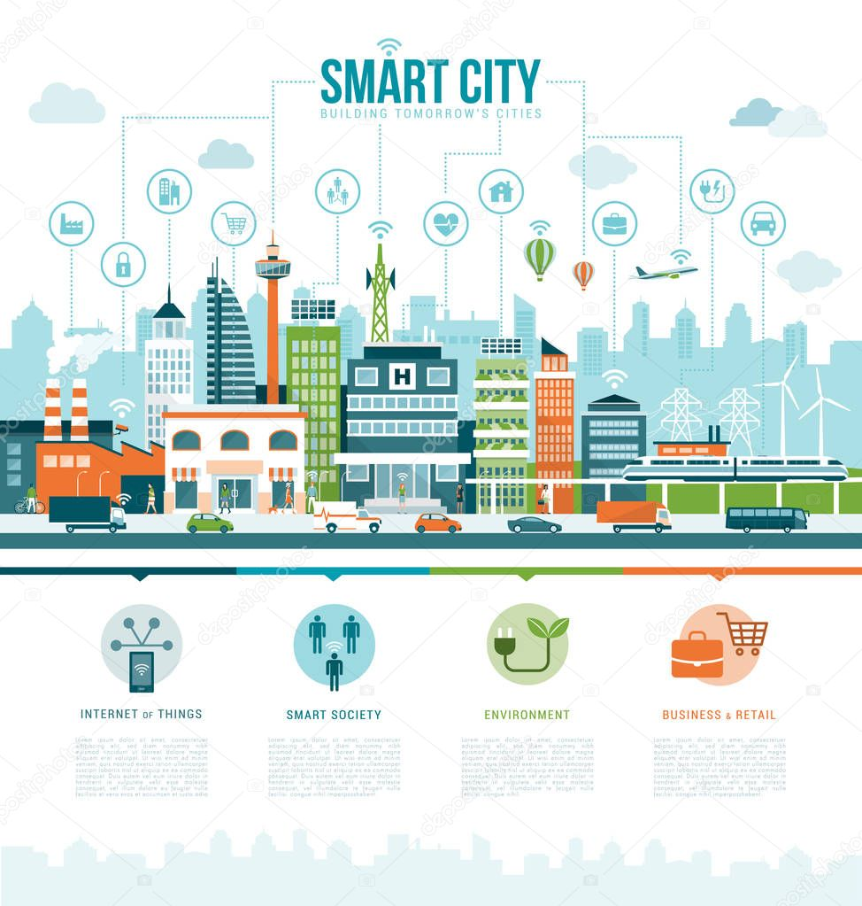 infographics of smart contemporary city