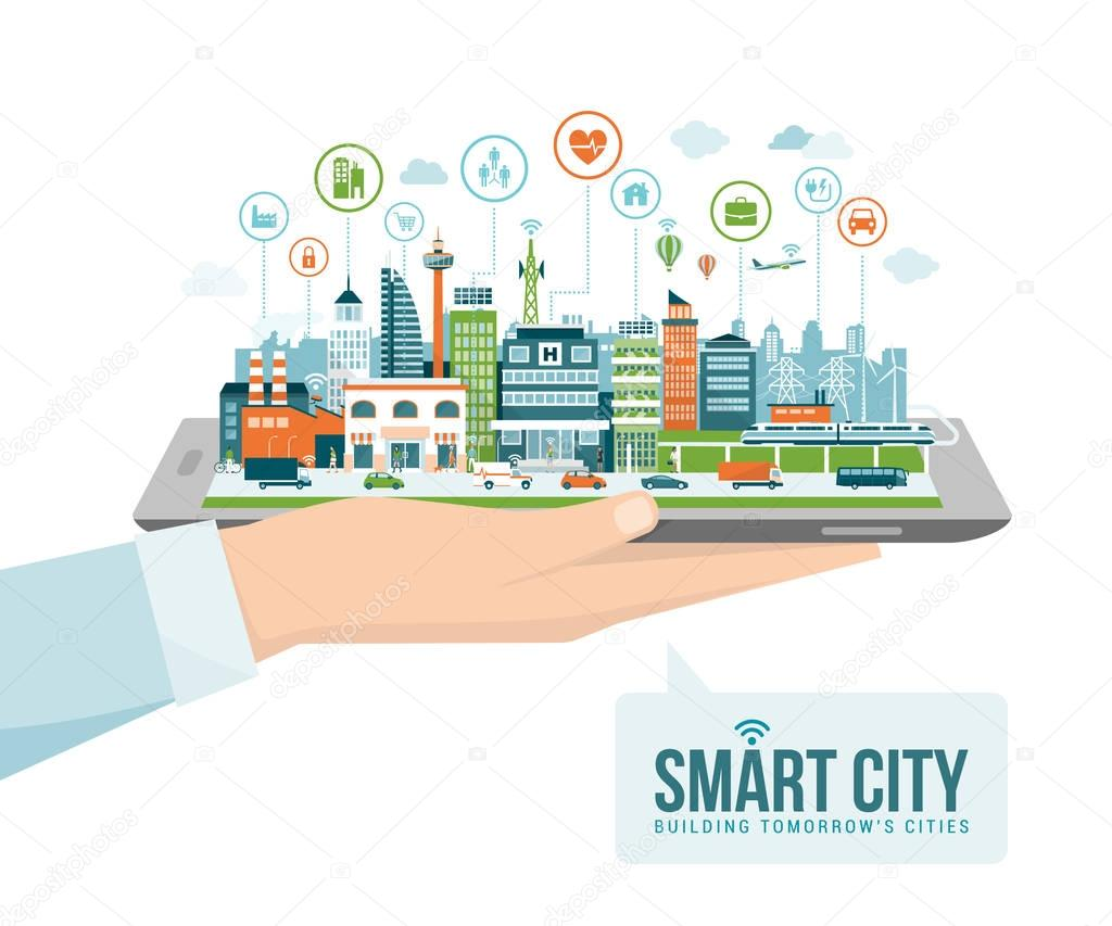 hand holding tablet with smart city