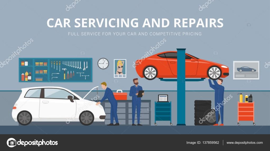 auto reparatie winkel interieur met monteurs werken en vaststelling van autos professionele dienstverleningsconcept vector van elenabs