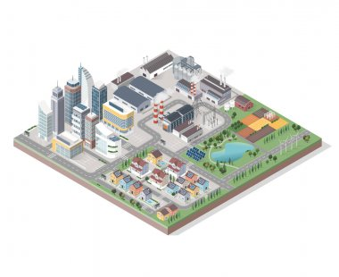 isometric contemporary green city with buildings