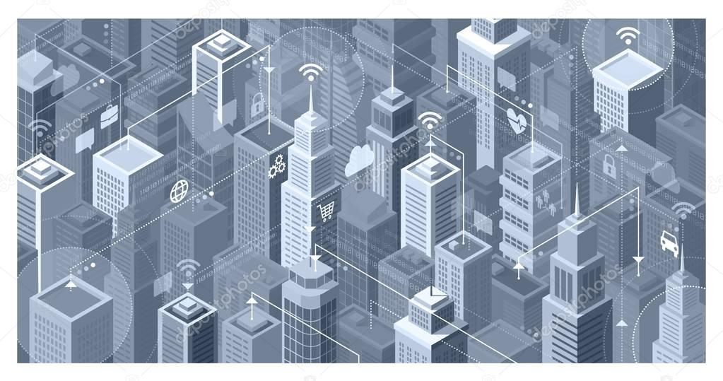 Smart city with modern skyscrapers