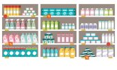 Photo Household products on supermarket shelves