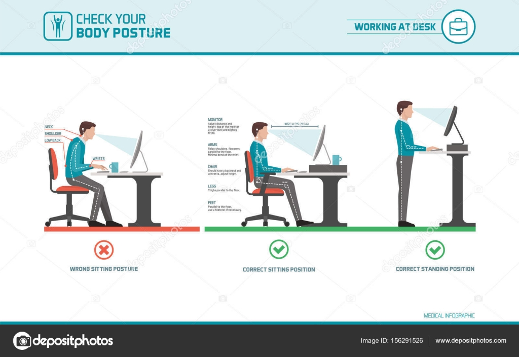 Correct Sitting At Desk Posture Ergonomics Stock Vector