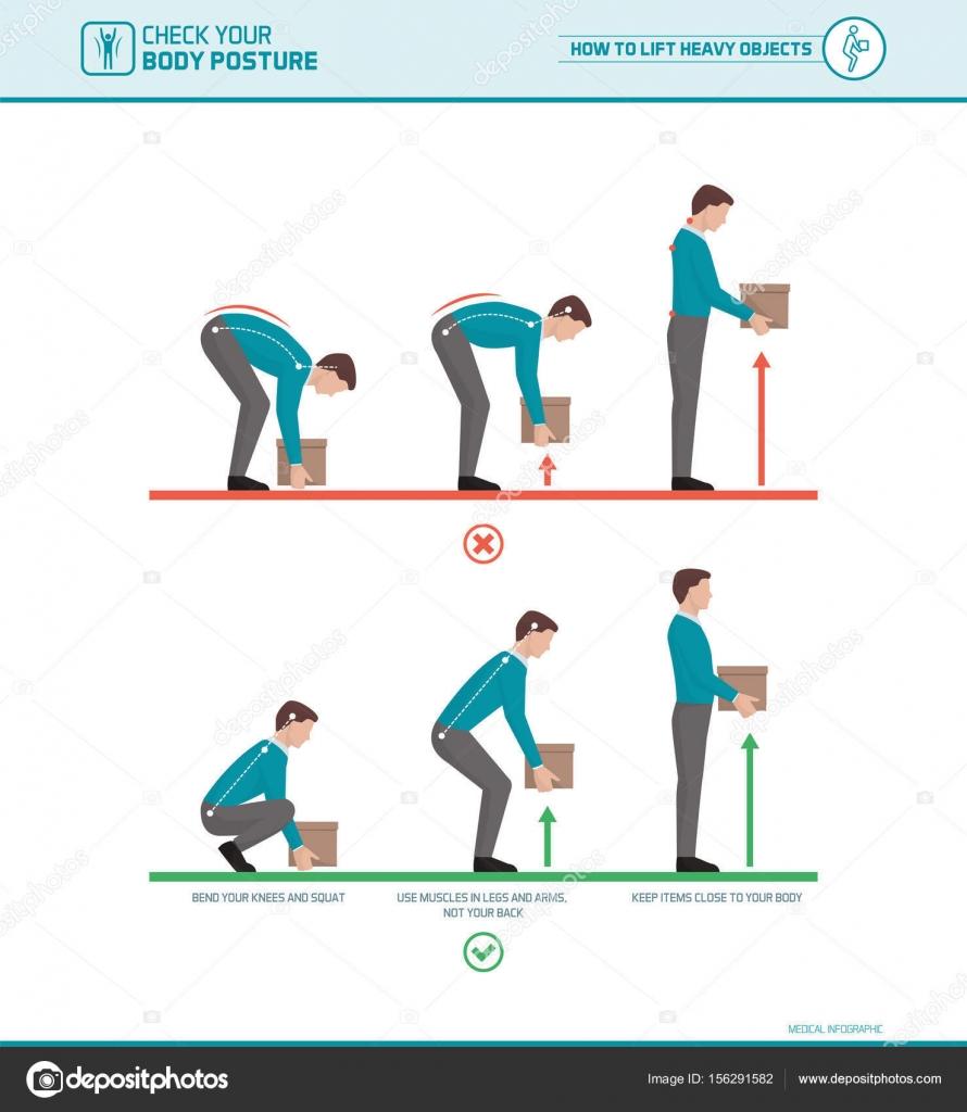 Proper lifting technique — Stock Vector © elenabs #156291582