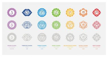 The seven chakras set, their meaning and sanskrit name; spirituality and energy healing concept stock vector