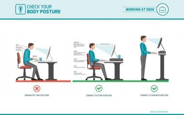 Correct sitting at desk posture ergonomics