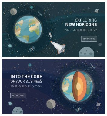 Earth from space banners, spaceship with astronaut and layered structure of planet clip art vector