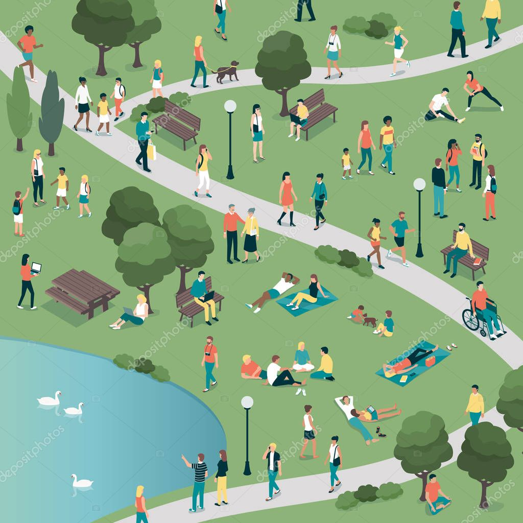 Vector illustration design of People at the city park stock vector