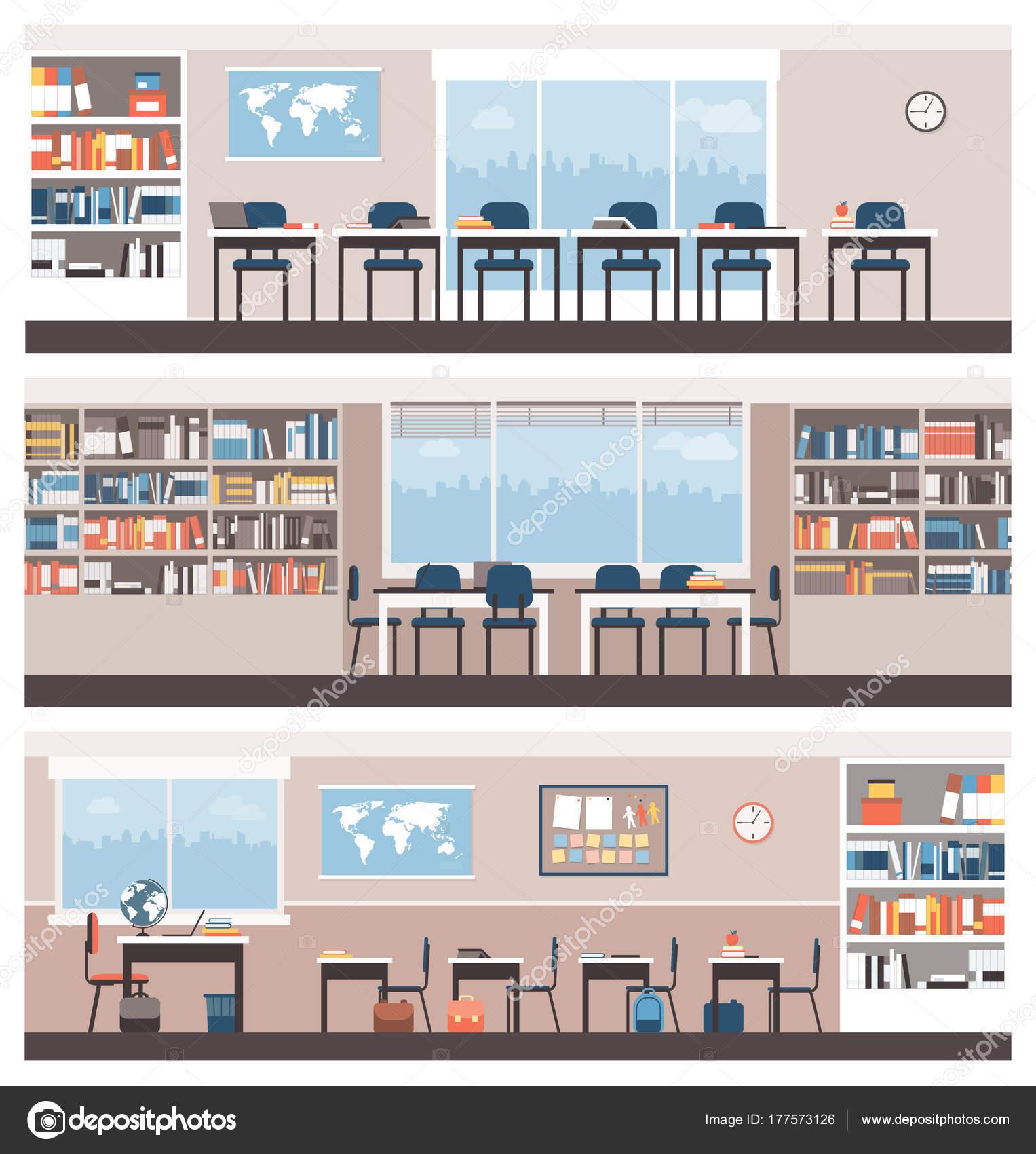 Schule und Bibliothek Innenräume — Stockvektor © elenabs #177573126