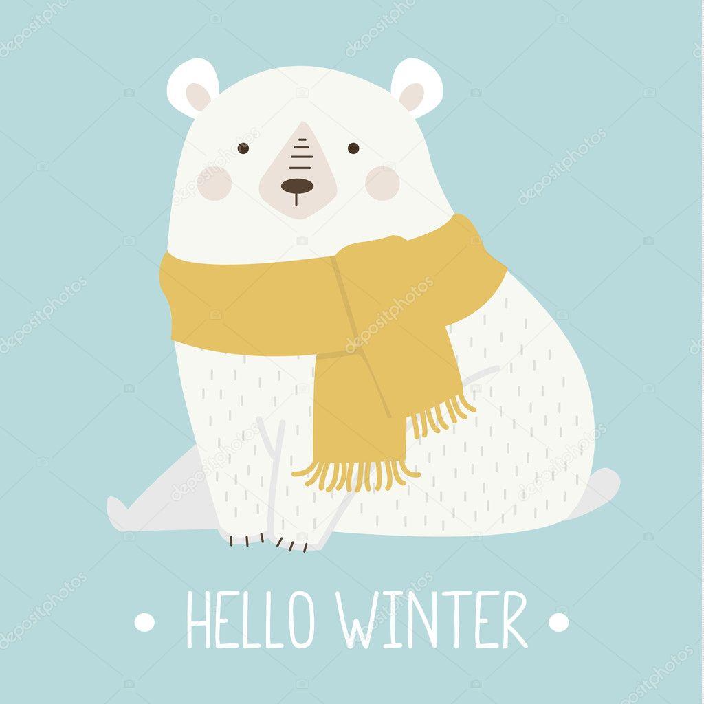 かわいいシロクマのイラストベクトルで ストックベクター Hozeeva