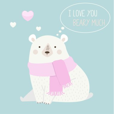 Vector illustration of a cute polar bear with a heart is saying