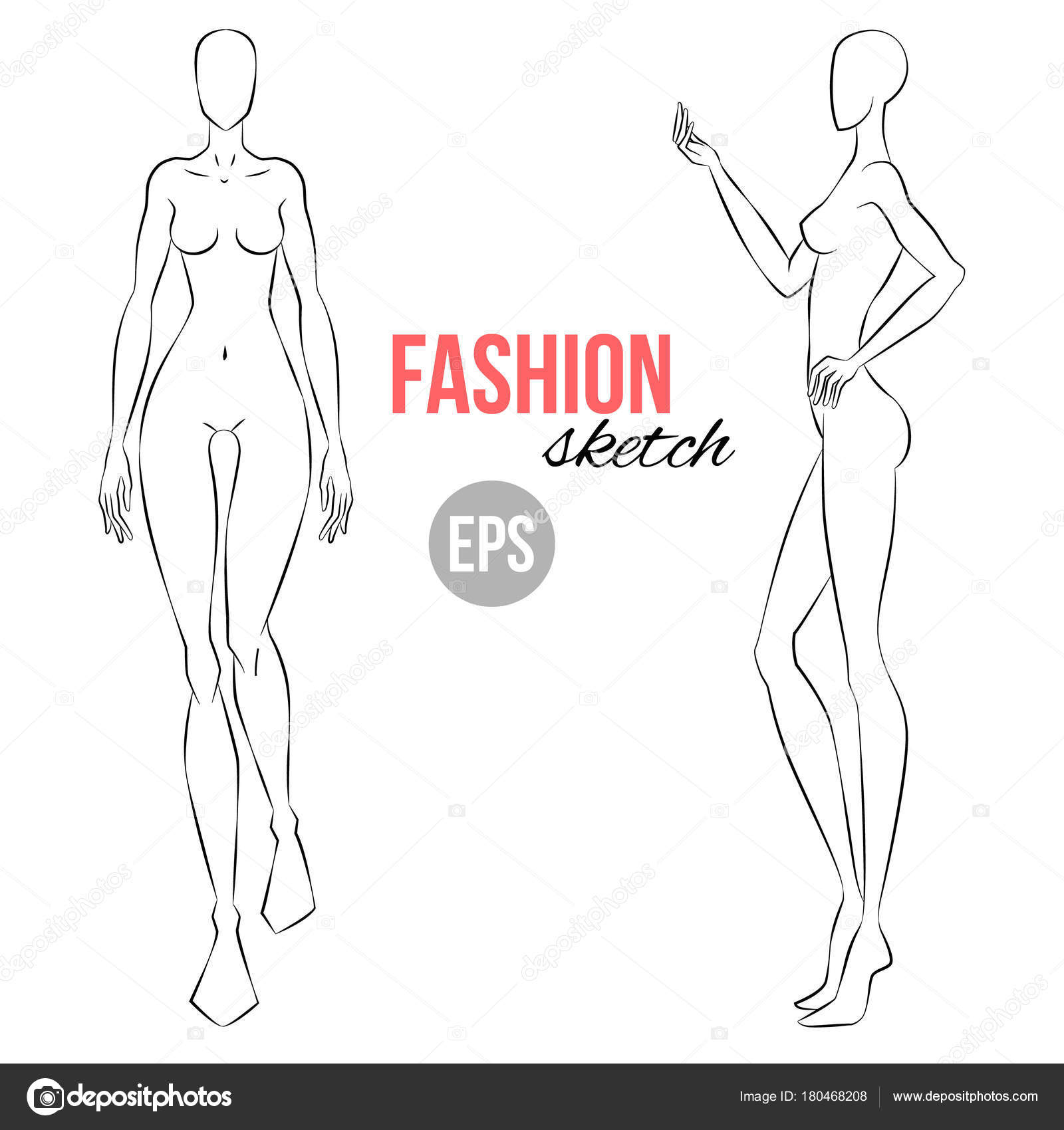 Women figure sketch different poses template drawing stylist womens figure sketch different poses template for drawing for stylist and designers of clothes vector outline girl model template for fashion sketching pronofoot35fo Gallery