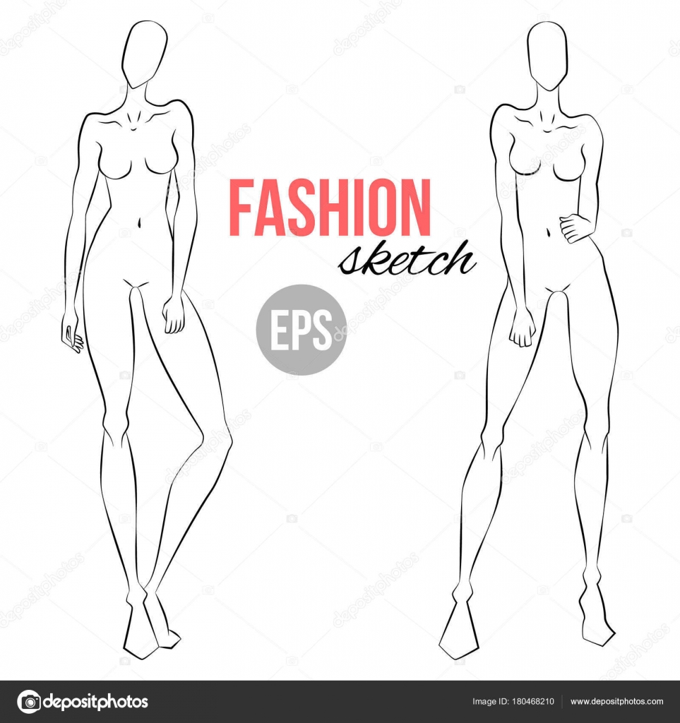 Women Figure Sketch Different Poses Template Drawing Stylist Designers Clothes Stock Vector