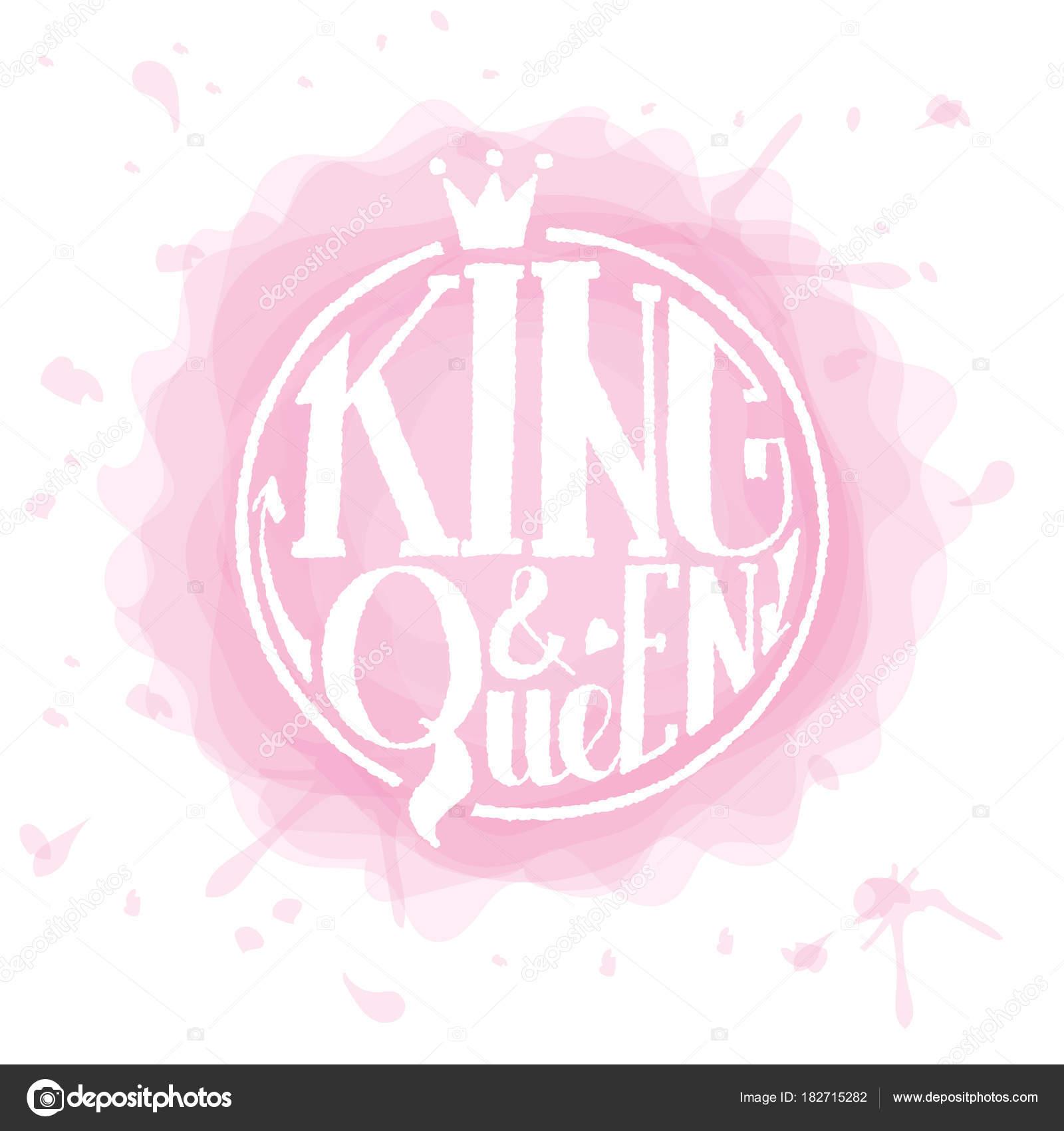 König Und Die Königin Logos, Abzeichen Und Symbol. Valentinstag Postkarte,  Kartenvorlage. Hochzeit Einladung Vorlage. Gruge Textur.