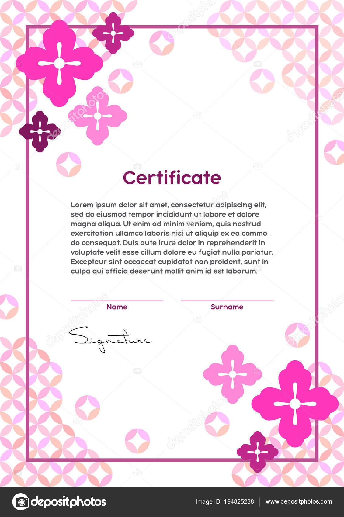 Vektor Zertifikat Vorlage Japanischen Modernen Stil Beauty Salon ...