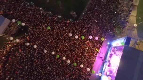 Many People at Concert by a Music Band