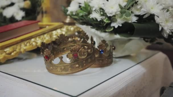 two crowns for wedding ceremony in the Church