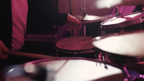 Close up of Drummer Hand Playing Drum Plate
