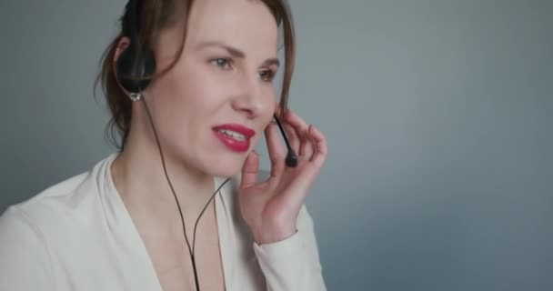 Woman Customer Support Agent Receptionist Wear Headset Consult Online Client. Talk in Internet Computer Chat, Helpline Operator Secretary Make Conference Video Call