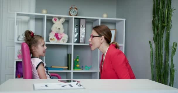 Voice Ability Problem Speaking Lesson Concept. Speech Language Therapist Teaching Preschool Kid Sound Pronunciation, Stuttering Cute Child Having Stutter.