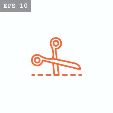 scissors cutting line icon