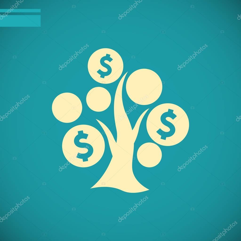 Money tree flat icon