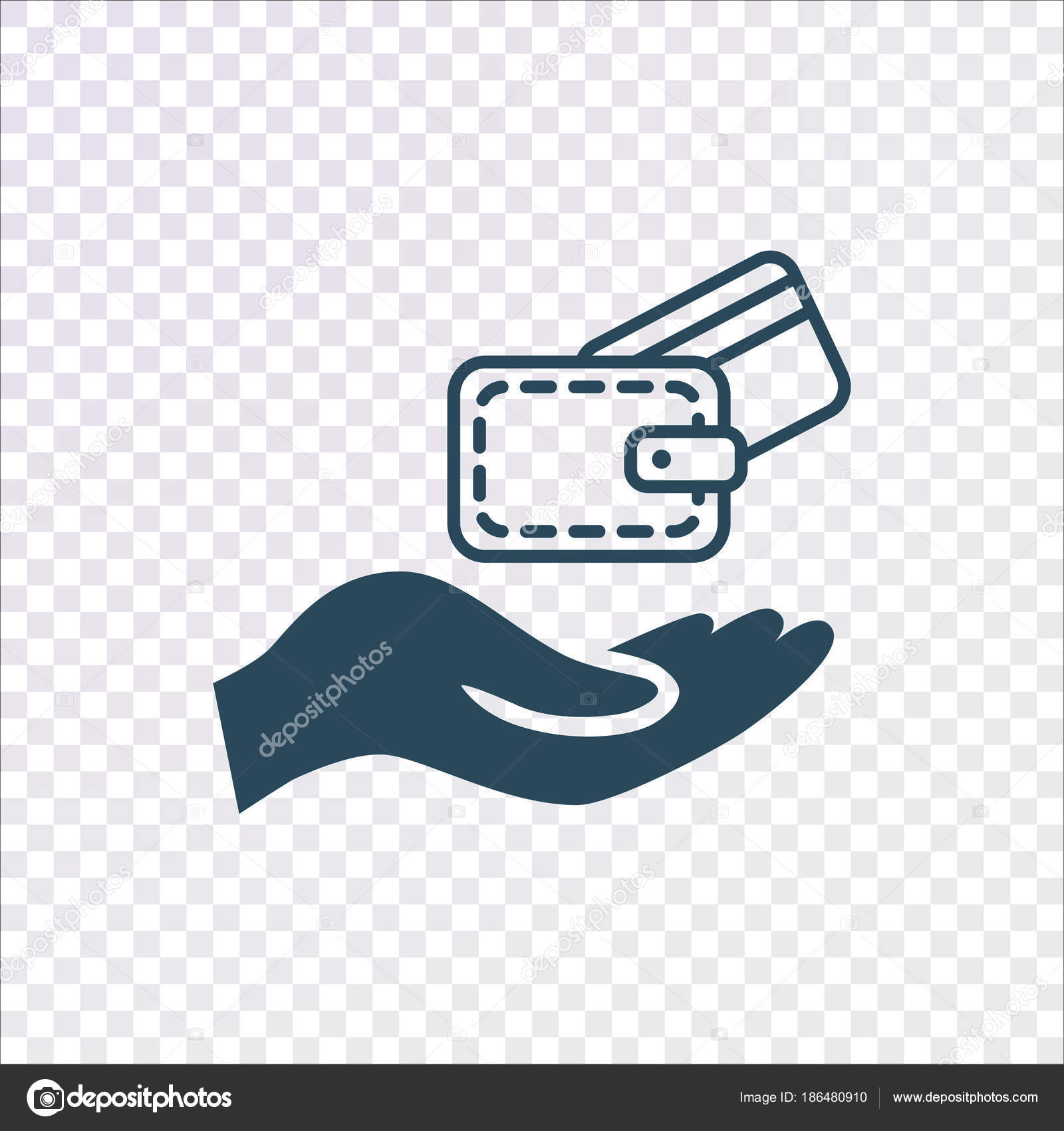 human hand wallet credit card transparent background stock vector