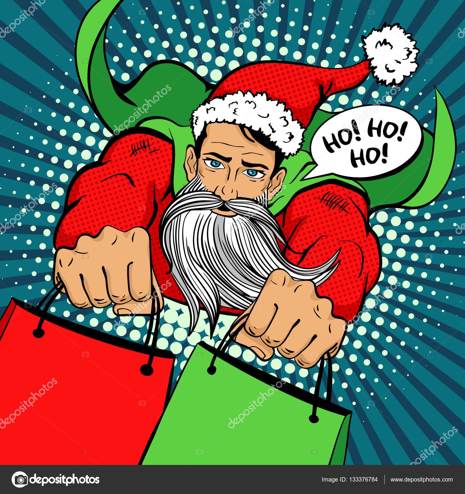 Pop Art Santa Schoner Junger Mann In Einem Superhelden Kostum Mit