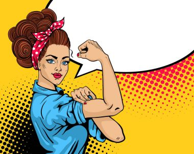 We Can Do It poster. Pop art sexy strong girl. Classical american symbol of female power,.