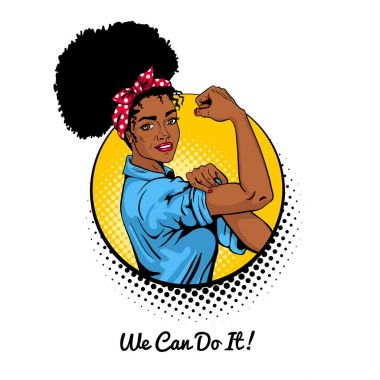 We can do it. Pop art sexy strong african girl in a circle on white background.