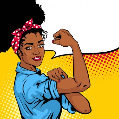 We Can Do It poster. Pop art sexy strong african girl with speech bubble.