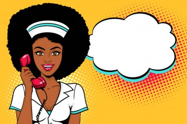 Wow pop art face. Sexy surprised young african woman in nurse uniform holding old phone handset with open smile and afro hairstyle. Vector bright background in pop art retro comic style.