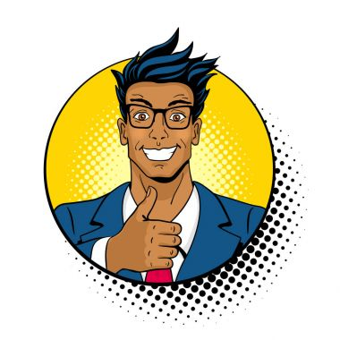 Wow pop art face. Young handsome dark skinned surprised man in glasses with open mouth shows thumb up in a circle with halftone. Vector colorful illustration in retro comic style on white background. clip art vector