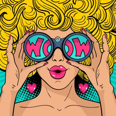 Wow pop art face. Sexy surprised  woman with blonde curly hair and open mouth holding binoculars in her hands with inscription wow in reflection. Vector colorful background in pop art retro comic style.