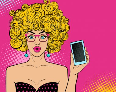 Wow pop art female face. Sexy surprised young woman in glasses with open mouth and blonde hair holding smart phone in her hand. Vector bright background in pop art retro comic style.