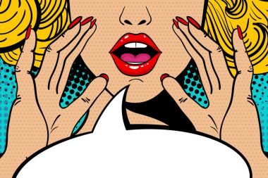 Sexy surprised blonde pop art woman with open mouth and rising hands screaming announce. Vector background in comic retro pop art style. Party invitation.
