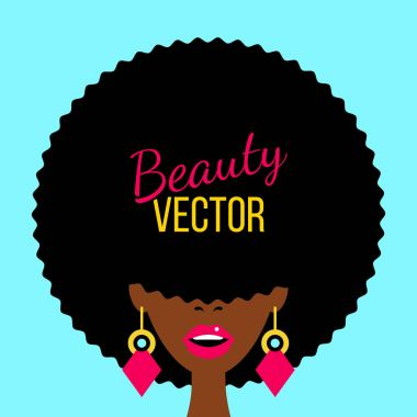 Sexy dark skinned woman with open mouth, african haircut covering her eyes and big earrings. Vector flat colorful background in retro comic style.