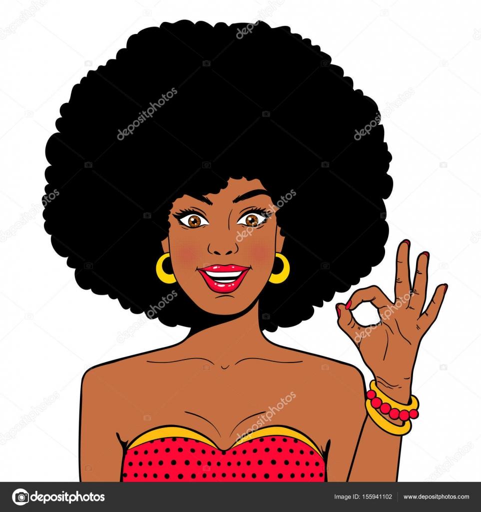 Wow Komiks Twarz Sexy Zaskoczony Młoda Kobieta Afryki Z Otwartymi
