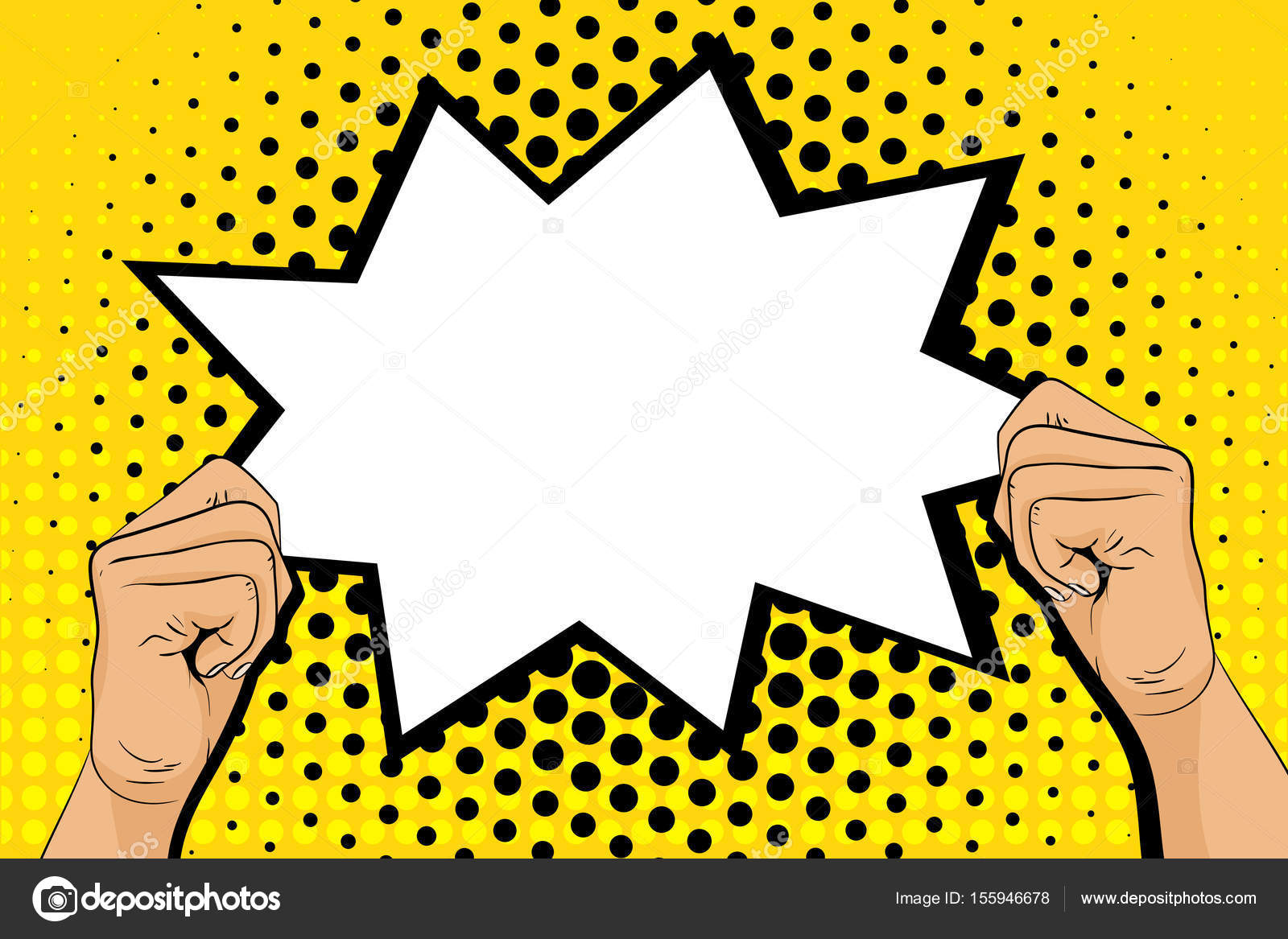 Pop Art Background With Male Hands Holding Speech Bubble