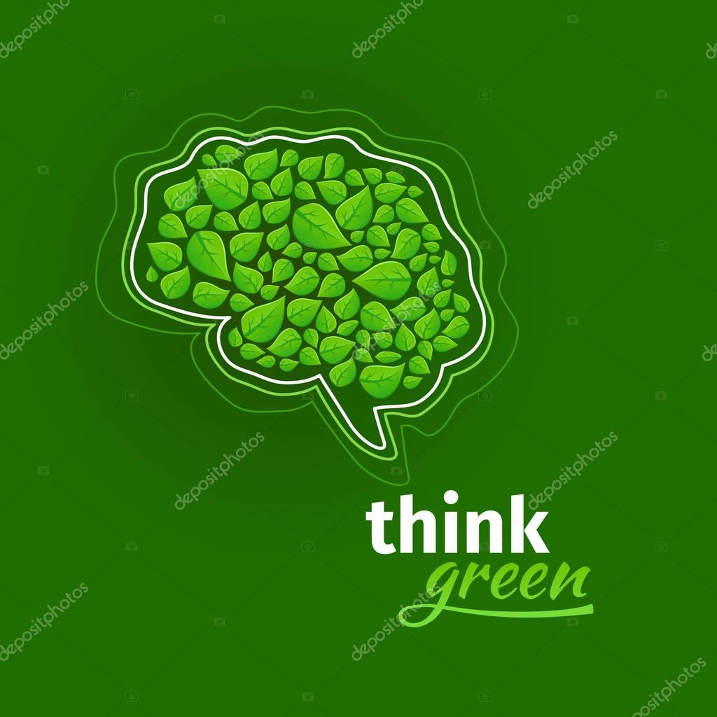 Think green logo. Brain costisting of green leaves and speech bubble logo. Abstract vector eco sign isolated on dark green background.